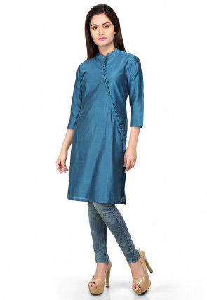 Straight Cut Plain Cotton Silk Kurta in Teal Blue