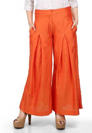 Plain Flared Cotton Silk Palazzo Pant in Orange