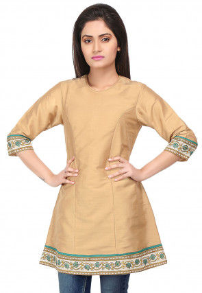 Printed Border Cotton Silk Tunic in Beige