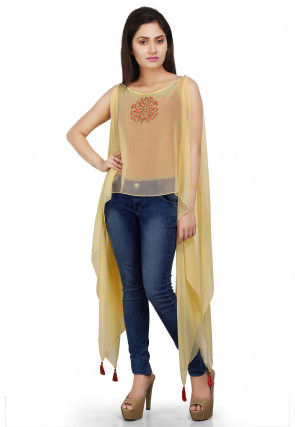 Embroidered Asymmetrical Georgette Hem Cape in Yellow