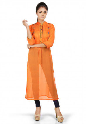 Plain Georgette Long Kurta in Orange