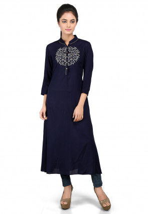 Embroidered Viscose Long Kurta in Navy Blue
