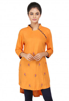 Embroidered Viscose High Low Kurti in Orange