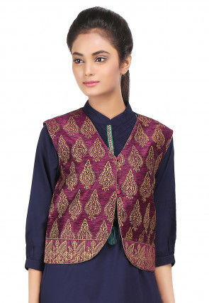 Block Printed Art Dupion Silk Jacket in Magenta