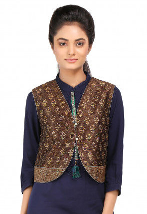 Block Printed Art Dupion Silk Jacket in Brown