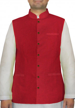 Plain Bhagalpuri Silk Nehru Jacket in Red