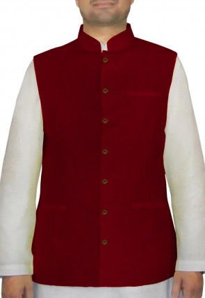 Plain Bhagalpuri Silk Nehru Jacket in Maroon