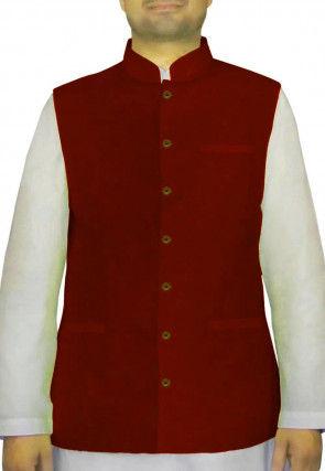 Plain Art Silk Nehru Jacket in Maroon