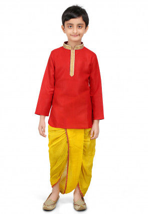 Plain Matka Silk Kurta Dhoti Set in Red and Yellow