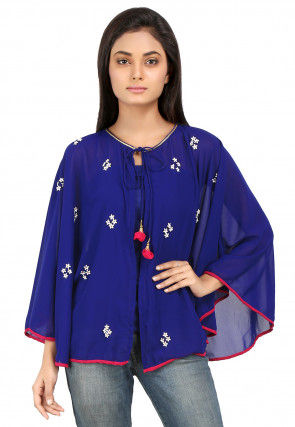 Embroidered Georgette Cape in Royal Blue