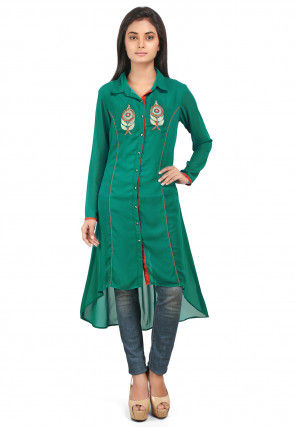 Embroidered Georgette Asymmetric Kurta in Teal Green