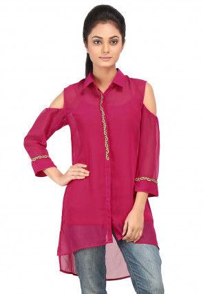 Plain Georgette Asymmetric tunic in Fuchsia