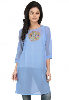 Embroidered Georgette Kurti in Sky Blue