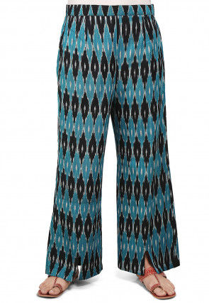 Ikat Woven Cotton Straight Pant in Blue and Black