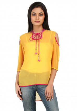 High Low Georgette Top in Yellow