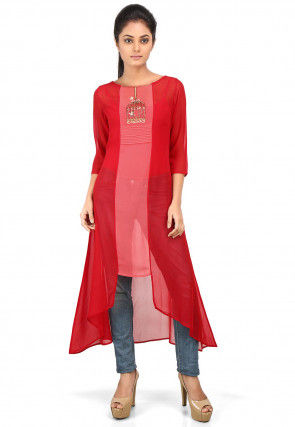 Color Block Georgette Asymmetric Long Tunic in Red and Pink