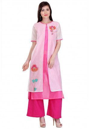 Embroidered Chanderi Silk Jacket Style Kurta in Off White