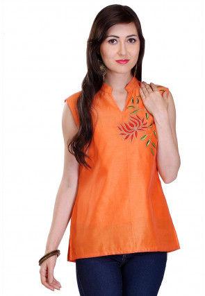 Embroidered Chanderi Silk Kurti in Orange