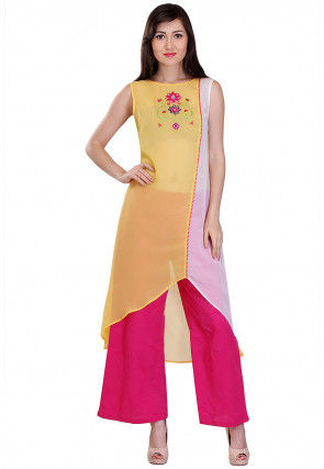 Embroidered Georgette Asymmetric Kurta in Yellow