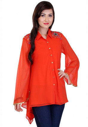 Embroidered Georgette Asymmetric Top in Orange