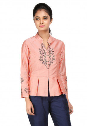 Embroidered Cotton Silk Peplum Style Top in Peach