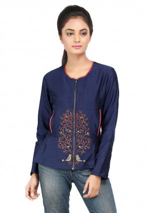Embroidered Cotton Silk Jacket in Navy Blue