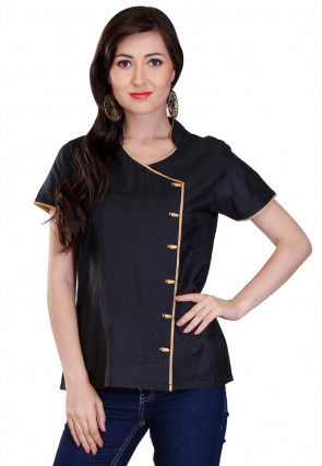 Plain Cotton Silk Angrakha Style Top in Black