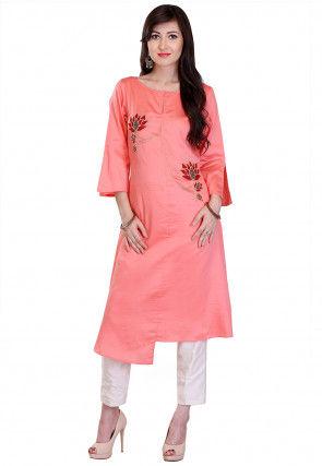 Embroidered Cotton Silk Asymmetric Long Kurta in Peach