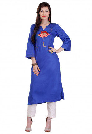 Embroidered Cotton Silk Long Kurta in Blue
