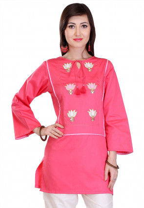 Embroidered Cotton Silk Top in Pink