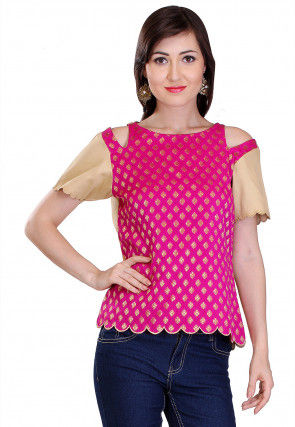 Brocade Top in Fuchsia and Beige