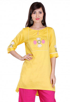 Embroidered Cotton Silk Kurti in Yellow
