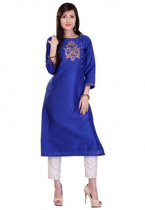 Embroidered Cotton Silk Kurta in Royal Blue