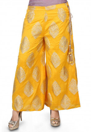 Zari Woven Chanderi Culottes in Yellow