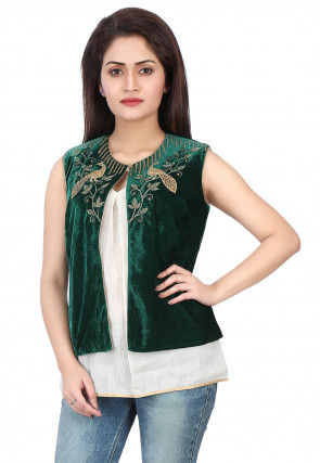 Embroidered Velvet Jacket in Green