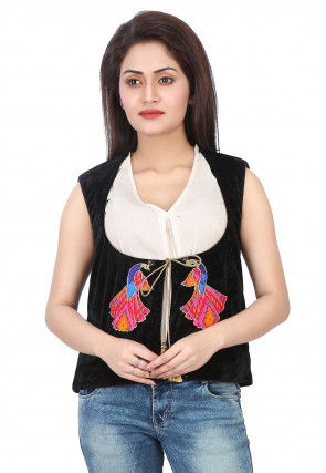 Multicolor Applique Work Velvet Jacket in Black