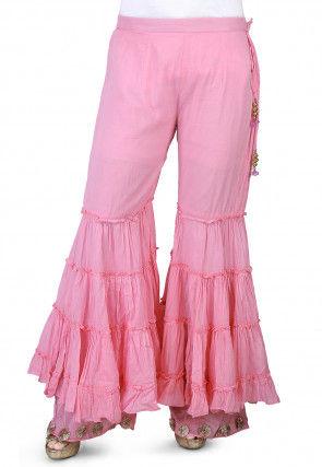 Plain Cotton Mulmul Sharara Pant in Pink