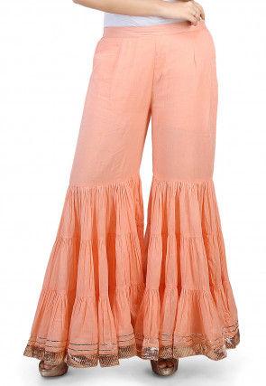 Plain Cotton Mulmul Sharara in Peach