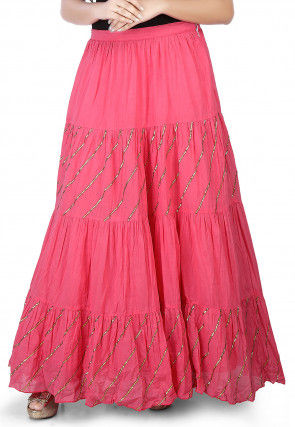 Plain Cotton Mulmul Long Skirt in Pink
