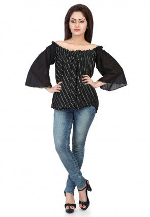 Plain Cotton Mulmul Top in Black