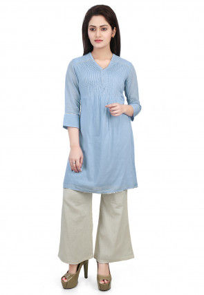 Plain Cotton Mulmul Kurti in Sky Blue