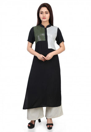 Plain Crepe Long Kurta in Black