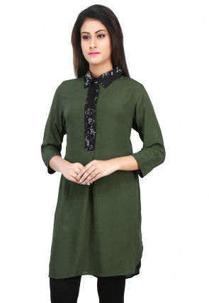 Plain Crepe Kurti in Green