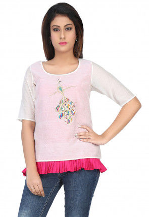 Embroidered Chanderi Silk Top in Off White