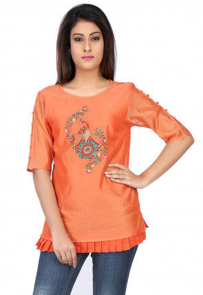 Embroidered Chanderi Silk Top in Orange