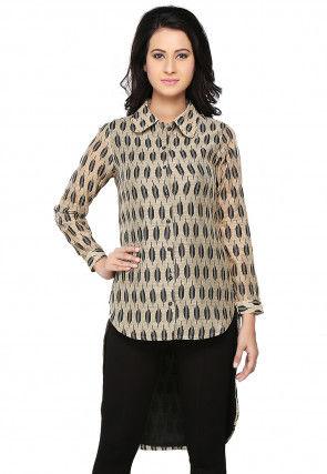 Block Printed Chanderi Silk Shirt Style Tunic in Beige