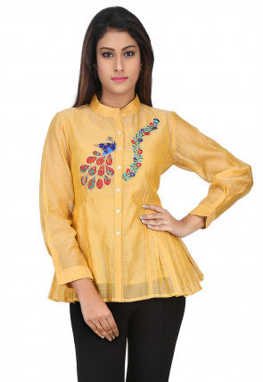 Embroidered Chanderi Silk Top in Yellow