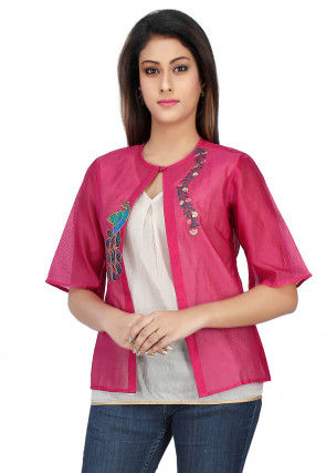 Embroidered Chanderi Silk Jacket Style Top in Fuchsia and Off White