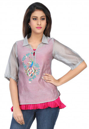 Embroidered Chanderi Silk Top in Grey and Fuchsia