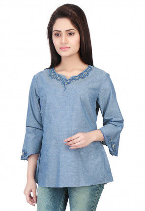 Plain Chambray Top in Blue